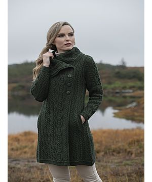 Womens Long Coat with Chunky Collar Green