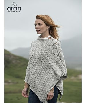 Aran Super Soft Merino Poncho with Buttons