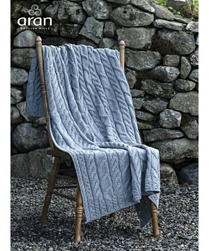 Aran Cable Knit Blanket Super Soft Merino Grey/Blue