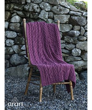 Aran Cable Knit Blanket Super Soft Merino Raspberry