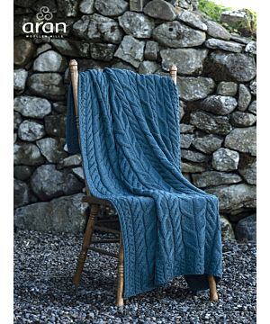 Aran Cable Knit Blanket Super Soft Merino Ocean Blue