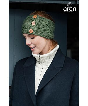 Cable Knit Headband  with Buttons Green