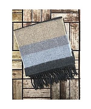 Wool Cashmere Scarf Made in Ireland - Blue/Grey/Beige Mix