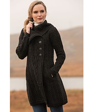 Womens Long Cardigan with Chunky Collar Black