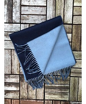Luxurious Double Sided Cashmere Scarf - Navy / Blue