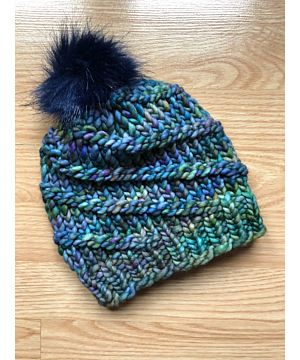 Hand Made in Ireland Super Soft hat with pom pom - blue / green