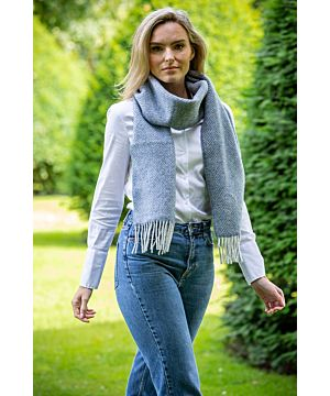Wool and Cashmere Blue Herringbone Scarf 2424