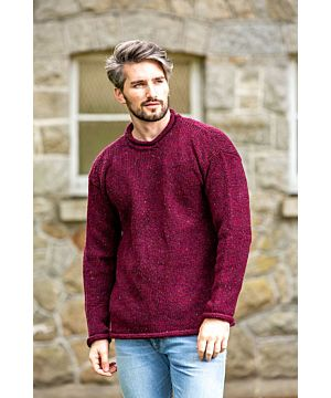Hand loomed pure wool Roll Neck Sweater Donegal