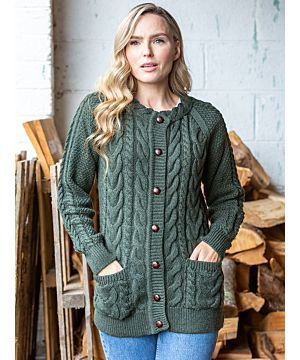 Ladies New Cable Knit Lumber Cardigan Army Green FITTED