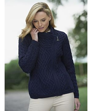 Cable knit Side Zip Cardigan Navy