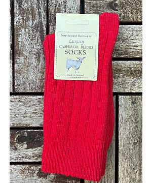 Luxury Ladies Cashmere Blend Socks- Bright Red (size 35-39)