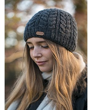 100% Wool Fully Lined Aran Pull on Hat Charcoal