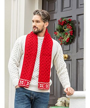Christmas Irish Aran Scarf Red