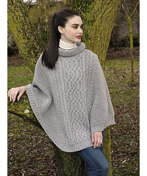 Cowl Neck Super Soft Poncho Light Grey