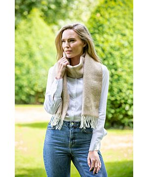 Wool and Cashmere Beige Herringbone Scarf