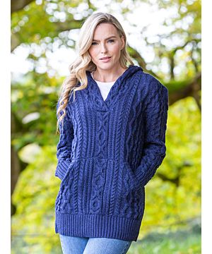 Ladies V Neck Hoody With Pockets Deep Water Blue