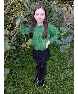 Kids Aran Cardigan Green