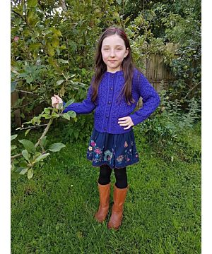 Kids Aran Cardigan Purple
