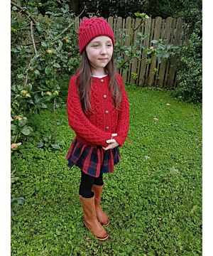 Kids Aran Cardigan Red