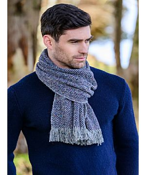 Donegal Tweed Scarf Navy Herringbone