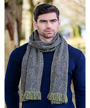 Donegal Tweed Scarf GREEN/NAVY MIX