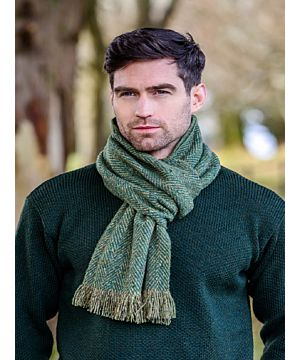Donegal Tweed Scarf Green Herringbone