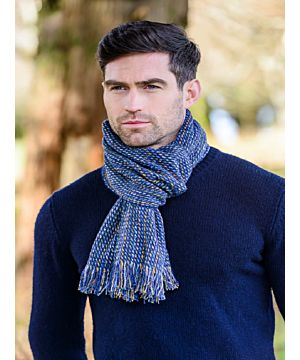Donegal Tweed Scarf Blue Yellow Mix