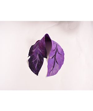 Felt Wool Leaf Scarf Purple