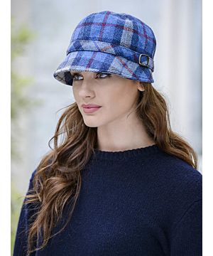Ladies Flapper Cap Blue and Red Check