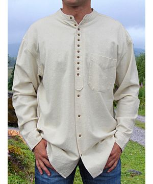 Men's Light Beige Traditional Grandfather Shirt