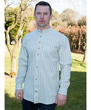 Men's Striped Traditional Grandfather Shirt