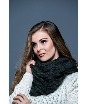 Super Soft merino Wool Infinity scarf  Army Green