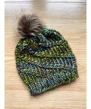 Handmade in Ireland - Supersoft Hat with pom pom - green mix