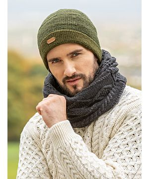 Mens Ribbed Pull on Hat All Green
