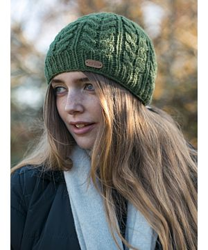 100% Wool Fully Lined Aran Pull on Hat Green