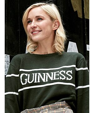 Unisex Green and White Guinness Crew Neck Sweater