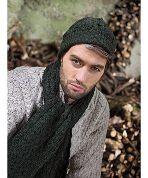 Merino Wool Army Green Honeycomb scarf and matching Aran Hat