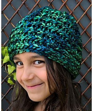 Girls Handmade Ribbed hat - teal mix