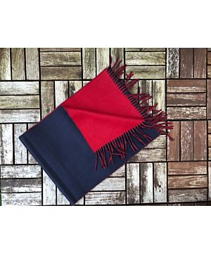 Luxurious Double Sided Cashmere Scarf - Red / Navy