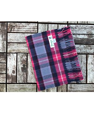 Luxurious 100% Cashmere Scarf - Pink / Purple / Navy Check