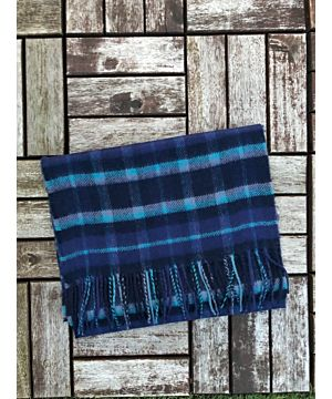Luxurious 100% Cashmere Scarf - Navy / Blue / Teal Mix