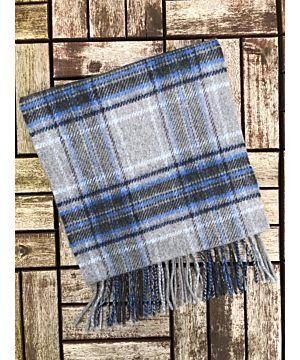 Wool Cashmere Scarf Made in Ireland - Blue/Grey/Black Check
