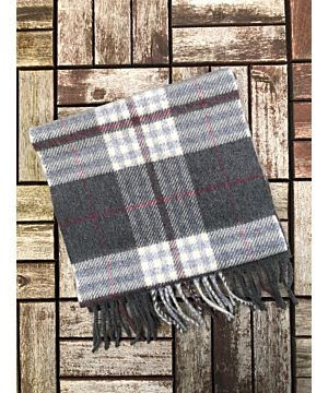 Wool Cashmere Scarf Made in Ireland - Grey/white/RedCheck