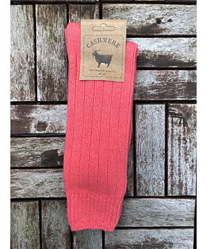 Luxury Mens Cashmere Socks - Coral (Size 40-45)