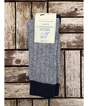 Luxury Mens Two Tone Cashmere Blend Socks -Grey/Navy (Size 40-45)