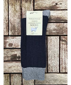 Luxury Mens Two Tone Cashmere Blend Socks - Navy/Grey (Size 40-45)