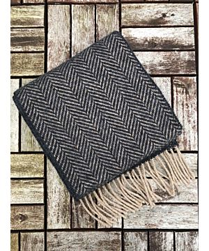Wool and Cashmere Herringbone Scarf Charcoal / Beige 2410