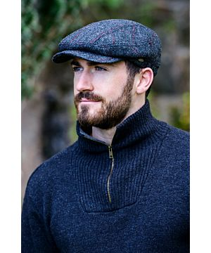 Men's Charcoal and Red Quilted Kerry Cap