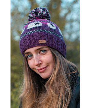 Sheep Bobble Hat Pink & Purple