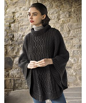 Cowl Neck Super Soft Poncho Charcoal
